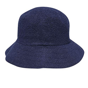 Mens Boucle Bucket Hat Elasticated Headband Navy SmlMed