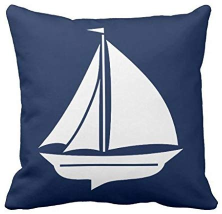 Sailboat pillow case cover 1818 in Navy Blue and White