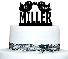 Load image into Gallery viewer, Buythrow Personalized Love Birds Cake Topper with Heart Design Initial Monogram Wedding Cake Topper, Monogram Cake Topper, Cake Topper Letters Black
