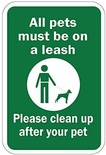 All Pets Must Be On A Leash Please Clean Up After Your Pet Warning Stickers Lable Decal Safety Signs and Stickers Vinyl for House Van Property Car Window 7 Inches X 10 Inches
