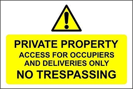 Private Property Access for Occupiers & Deliveries Only No Trespassing Sign Stickers,Warning Stickers Lables,Self Adhesive Vinyl,Safety Notice Caution Sign Decals, 300Mm X 200Mm