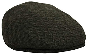 Classic Men's Flat Hat Wool Newsboy Herringbone Tweed Driving Cap