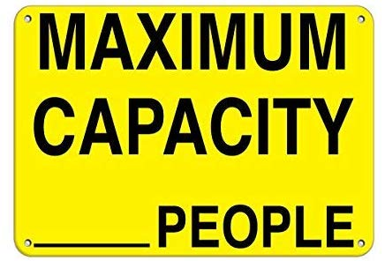 Maximum Capacity 24 People Maximum Occupancy Signs Sign, Funny Warning Stickers Decal,Vinyl,Safety Sign Label Decal,Self Adhesive,8x12