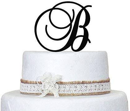 Personalized Monogram Wedding Cake Topper - 5 Inch Monogram Letter Cake Topper