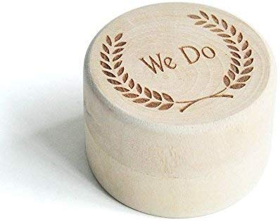 We Do Wood Wedding Ring Box with Engraved Leaves,Engagement Wedding Ring Box