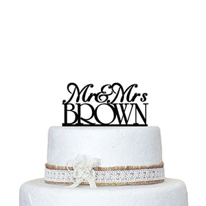 designyours Wedding Cake Toppers Mr and Mrs Personalized Name Customize Date Heart for Wedding