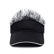 Load image into Gallery viewer, OBERORA Flair Hair Visor Sun Cap Wig Peaked Adjustable Baseball Hat with Spiked Hairs