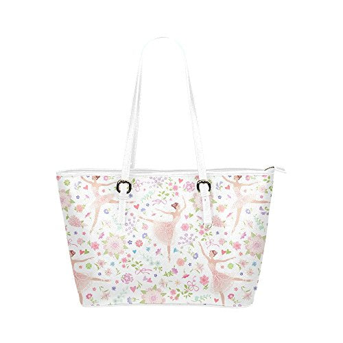 InterestPrint Fashion Fairy Girl Ballet Shoes Flowers Leather Tote Shoulder Bags Handbags for Women