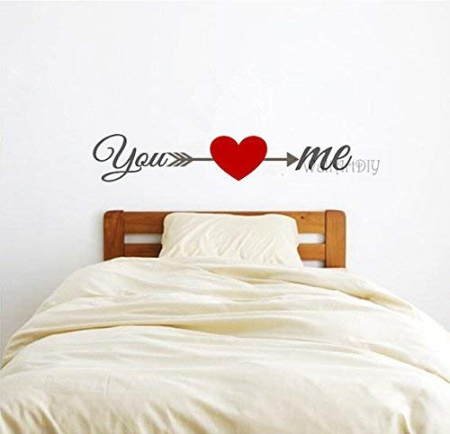 designyours You and Me Wall Decals Arrow Heart Viny Wall Stickers Bedroom Wall Sticker Art Decor for Parents Wedding Gifts for Newlywed