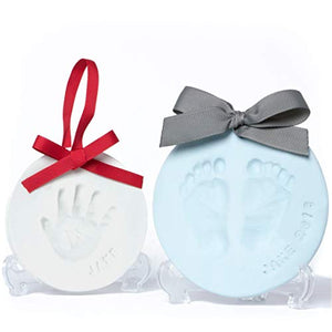 Baby Leon Footprint Ornament Kit | White + Pink Clay Molds & Paint Set | Best Baby Shower Gift for Newborn Girls & Boys | New Mom Gift Registry | Handprint & Pet Paw Print Keepsake | Safe Air Dry Clay