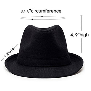 Unisex Classic 20s Manhattan Cotton Twill Herringbone Trilby Fedora Hat with Band Casual Jazz Wool Cap