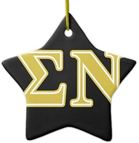 659ParkerRob Christmas Ornaments, Sigma Nu Gold Letters Star Ceramic Christmas Ornaments for Christmas Tree Decoration,, Keepsake,New Couples