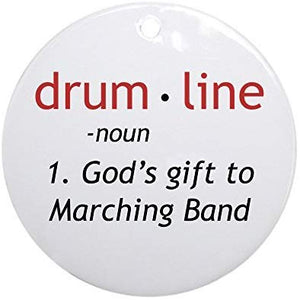 hiusan Novelty Decoration Definition of Drumline Christmas Ornaments Ceramic Round Christmas Tree Hanging Keepsake 3 Inches