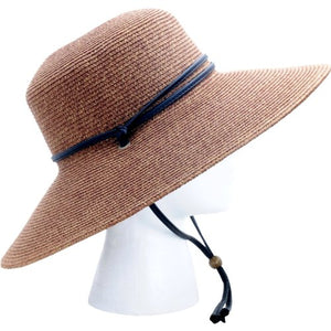 Sloggers Women's  Wide Brim Braided Sun Hat with Wind Lanyard - Dark Brown -  UPF 50+  Maximum Sun Protection Style 442DB01