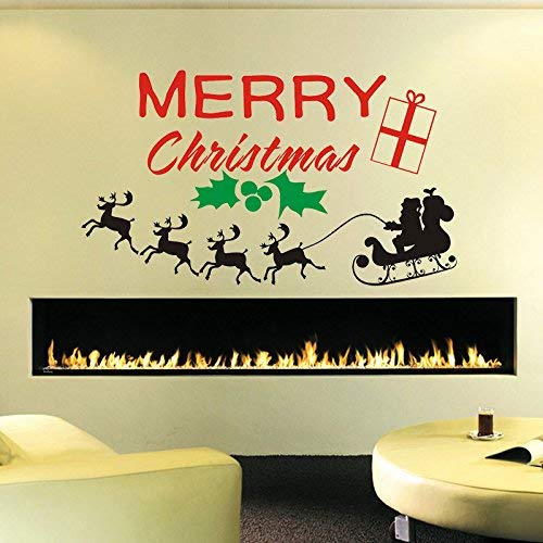 designyours Merry Christmas Wall Decals Christmas Wall Stickers Santa Clause Reindeer Christmas Wall Decorations