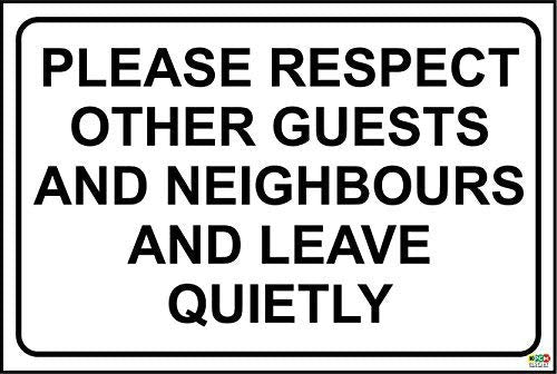 Hotel Sign. Please Respect Our Guests, Leave Quietly Warning Stickers Lables,Self Adhesive Vinyl, 300Mm X 200Mm