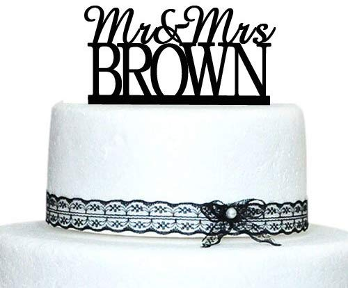Buythrow Personalized Last Name Topper,custom Mr and Mrs Cake Topper,couple Topper