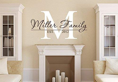 designyours Personalized Family Name Wall Decals Custom Family Est Date Vinyl Wall Stickers for Living Rooms Personalized Wedding Gifts Gift for Newlywed