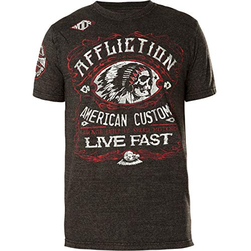 Affliction Men's Graphic T-Shirt American Customs Moonshine Short Sleeve Crew Neck Shirt