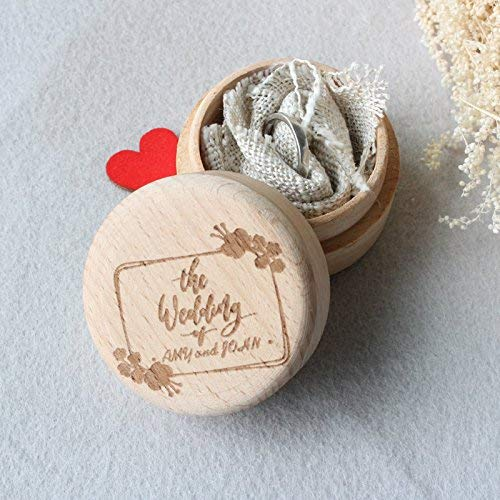 The Wedding Day Wood Ring Box for Ceremony,Engraved Wooden Wedding Ring Box,Wedding Ring Bearer Holder