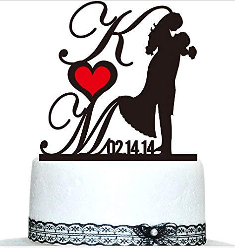 Buythrow Custom Cake Topper,wedding Gift Cake Tooper, Personalized Monogram Letters,date for the Bride and Groom