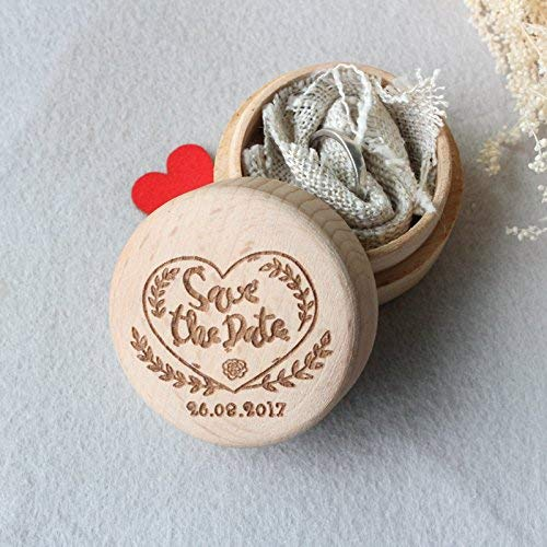 Save The Date Wedding Ring Box,Personalized Date Wedding Ring Box,Rustic Wooden Wedding Ring Holder