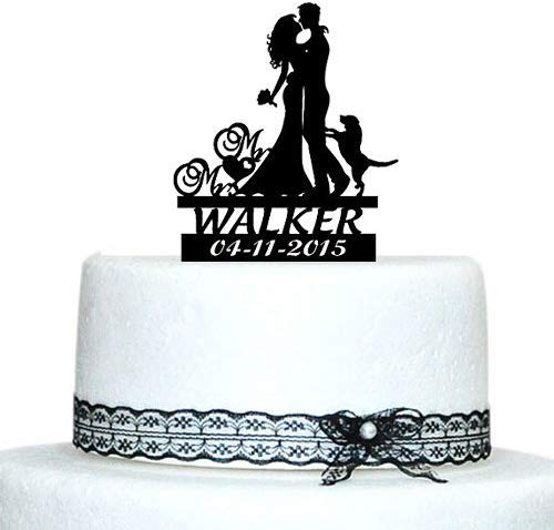Buythrow Wedding Cake Toppers Bride and Groom Silhouette with Dog Custom Name Mr and Mrs Cake Toppers