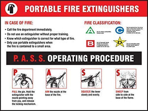 Fire Extinguishers - P.A.S.S. Operating Procedure Safety Sign, Funny Warning Stickers,Self Adhesive Vinyl,Safety Sign Label Decal, 18 Height X 24 Width,
