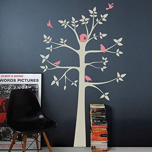 designyours White Tree Wall Decals for Nursery Tree Wall Decal with Birds for Kids Bedrooms