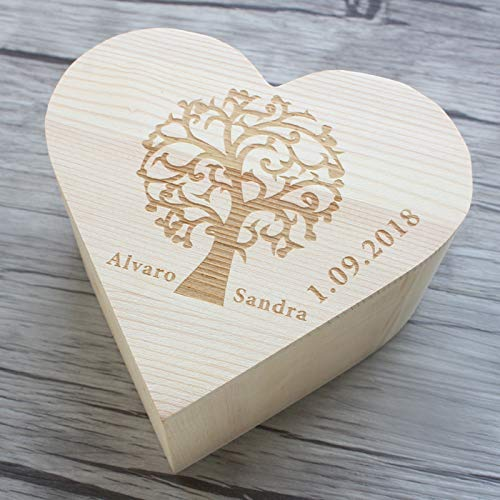 Wedding Guest Book Alternative,Engraved Tree Wedding Box for Memories,Personalized Keepsake Box,Wedding Card Ches,Memory Box with Hearts