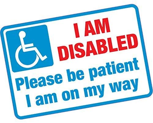 hiusan I Am Disabled Please Be Patient Warning Stickers Vinyl Self Adhesive Lables for Car Laptop Truck