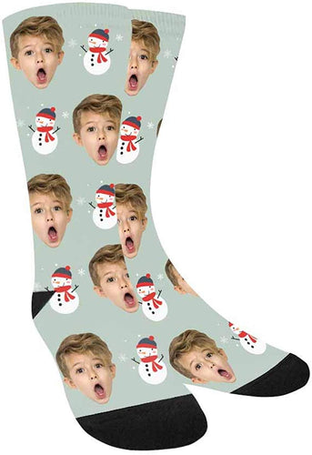 Custom Printed and Personalized Socks Snowman with A Hat and Scarf Crew Socks Boys
