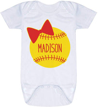 Load image into Gallery viewer, Custom Softball Baby & Infant Onesie | Softball Bow | Colors & Sizes