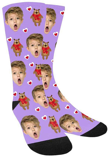 Custom Face Socks,Turn Your Photo Into Bear with Scarf and Heart Crew Socks for Boys and Girls