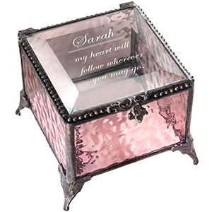 Personalized Jewelry Box Decorative Vanity Display Engraved Glass Keepsake Gift for Friend Daughter Sister Girl Women Vintage Decor J Devlin Box 825 EB246 (Clear Honeycomb)