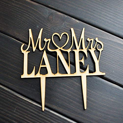 Buythrow Mr and Mrs Wedding, Birthday, Heart Shape Family Name Personalized Wooden Cake Topper