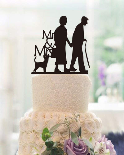 Anniversary Cake Topper Old Couples Silhouette Mr and Mrs Wedding Cake Topper Anniversary Gifts for Parents
