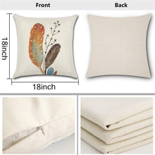 Load image into Gallery viewer, HOMANGA Feather Throw Pillow Covers, 18 x 18 Inch Set of 4 Decorative Throw Pillow Cases, Spring Summer Linen Pillow Covers for Sofa Couch Farmhouse, Cushion Covers for Home Office Car