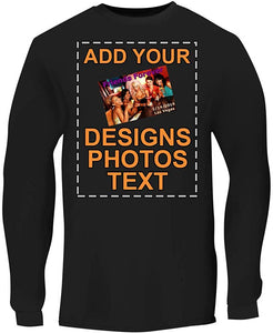 Custom Personalized Men's Long Sleeve Tee - Printed Image & Text - Your Design Here