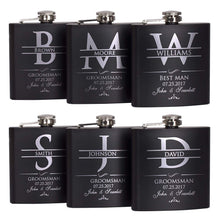 Load image into Gallery viewer, P Lab Set Of 6 - Groomsmen Gift - Groomsman Gifts For Wedding, Wedding Favor Customized Flask Set w Optional Gift Box - Engraved 6oz Stainless Steel Flask Custom Personalized Flask Gift Set, Black #2
