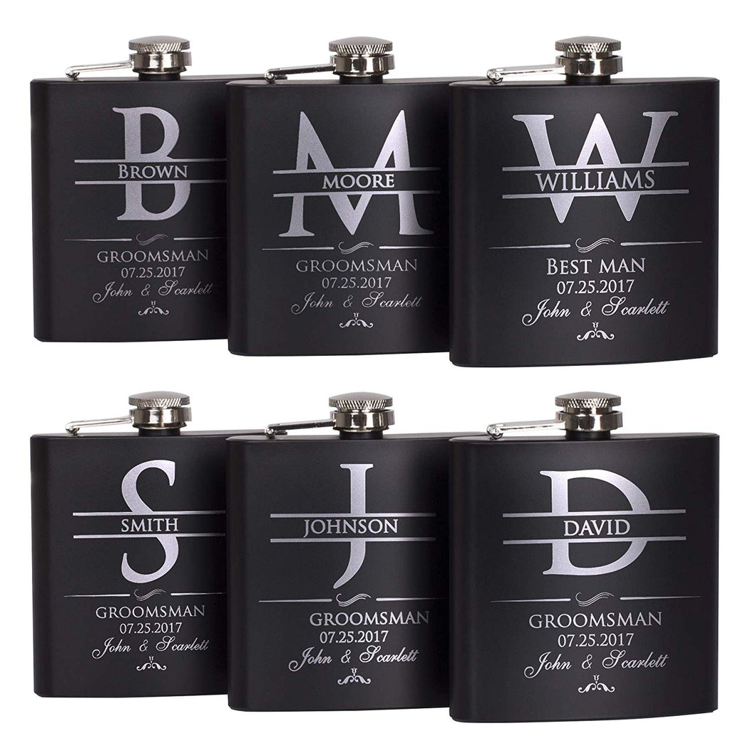 P Lab Set Of 6 - Groomsmen Gift - Groomsman Gifts For Wedding, Wedding Favor Customized Flask Set w Optional Gift Box - Engraved 6oz Stainless Steel Flask Custom Personalized Flask Gift Set, Black #2