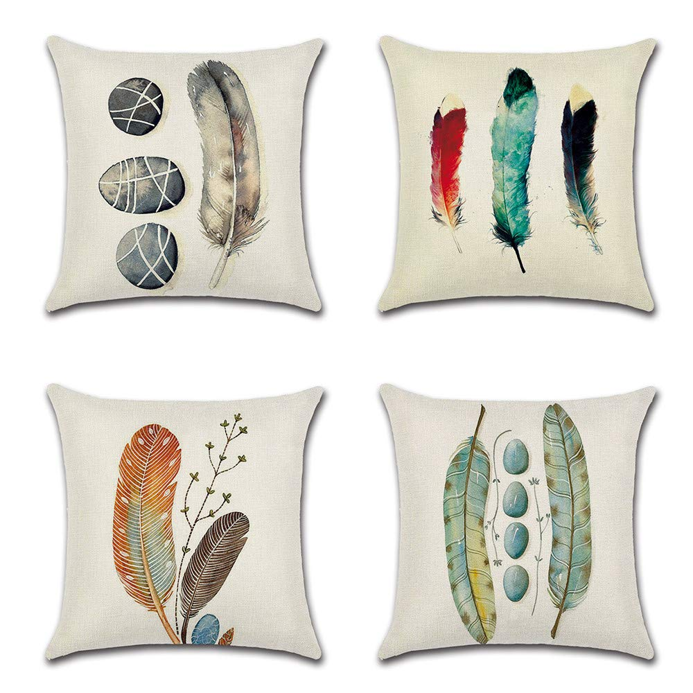 HOMANGA Feather Throw Pillow Covers, 18 x 18 Inch Set of 4 Decorative Throw Pillow Cases, Spring Summer Linen Pillow Covers for Sofa Couch Farmhouse, Cushion Covers for Home Office Car