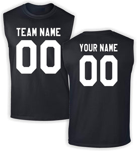 Custom Jersey-Style Front and Back Sleeveless T-Shirt - Add Your Team, Name, and Number