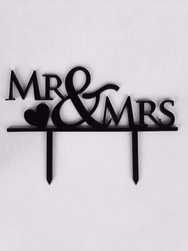 Buy throw Mr. & Mrs. Cake Topper, Custom Wedding Cake Topper With The Heart Design, Cake Decorating Supplies, Cake Toppers For Couples Black
