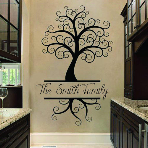 designyours Family Tree Wall Decals Personalized Family Name Wall Decals for Living Room Vinyl Wall Stickers Home Wall Decor