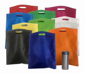"Bulk 50 Pack Mega 15"" x 16"" Cutout Handle Tote Assortment - Ideal Shopping, Treat, Gift or Everyday Bags"