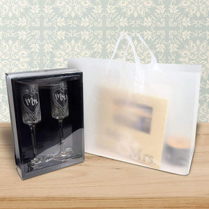 "16x6x12"" 100 Pcs. Large Frosted Clear Plastic Gift Bags with Handles, Shopping Bags, Take Out Bags with Cardboard Bottom, Bags in Bulk"