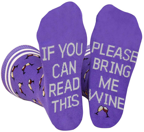 Saucey Socks Bring Me Wine Socks Please (Medium) Women, If You Can Read This Wine Socks