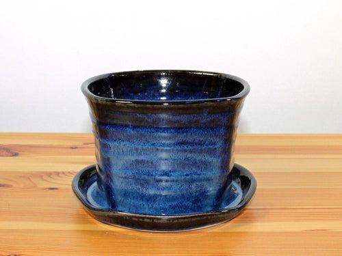 Square Blue and Black Planter