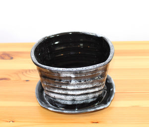 Square Black and White 6 inch Planter
